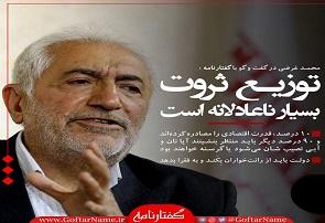 محمد غرضی : توزيع ثروت بسيار ناعادلانه است/ قدرت اقتصادی در انحصار ۱۰درصد جامعه